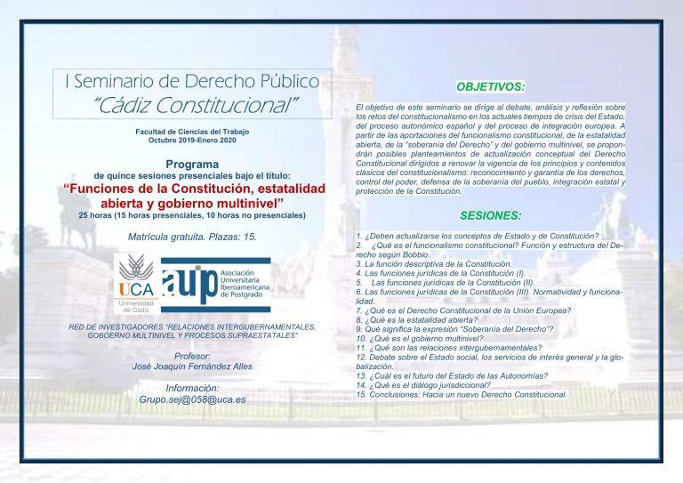 """I Seminario de Derecho Público """"Cádiz Constitucional"""" de la Red REDIRIG de la AUIP"""